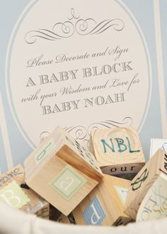 fun baby shower activity - decorate wooden baby blocks for mom to keep
