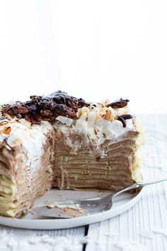 Toasted Coconut Cream Rum and Chocolate Mousse Crepe Cake   halfbakedharvest.com