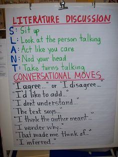 Literature Group Discussion: I conversational moves