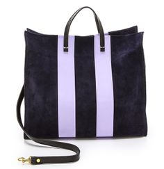 Suede Clare V. Supreme Simple Tote in Navy/Lavender Clare Vivier, Best Bags, Printed Bags, New Bag, Supreme, Bag Accessories, Tote Bag, My Style, Simple