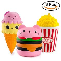 BeYumi Slow Rising Toy Kawaii Hamburger Popcorn Ice Cream Squishy Cream Scented Decompression Squeeze Toys for Collection Gift decorative props Large or Stress Relief