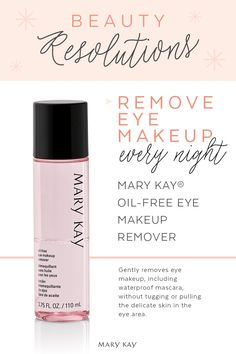 Mary Kay® Oil-Free Eye Makeup Remover - Gently removes eye makeup, including waterproof mascara, without tugging or pulling the delicate skin in the eye area. Formula does not leave skin feeling greasy. Mary Kay Ash, Mary Kay Party, Spa Facial, Facial Scrubs, Facial Cleanser, Facial Masks, Mary Kay Cosmetics, Eye Make-up Remover, Make Up Remover