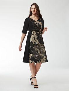 Marina Rinaldi DECURIA schwarz: Kleid aus Jacquard mit Dahlienmuster.