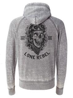 """Men's """"Lone Rebel"""" Zip Up Hoodie by Fifty5 Clothing (Grey) #InkedShop #Hoodie #loungewear #hoodie #skull"""