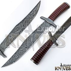 Knives Exporter New Snake Feather Damascus USA Bowie Knife, Micarta Handle 329 #KnivesExporter