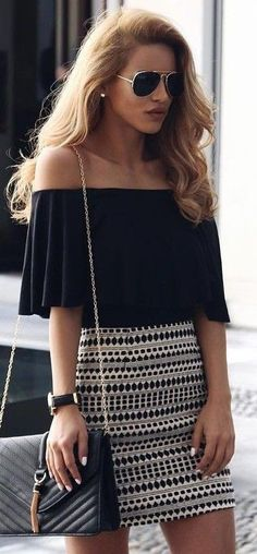 #summer #popular #outfitideas | Black Off The Shoulder Top + Printed Skirt