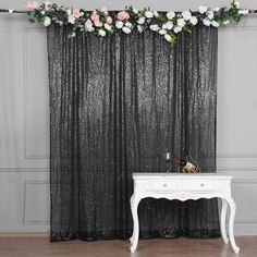 8 FT Black Sequin Curtains – PhotoBooth Backdrop – Photography Backdrops With Rod Pocket - Modern Sequin Curtains, Sequin Backdrop, Black Curtains, Photo Booth Backdrop, Backdrop Stand, Backdrop Ideas, Photo Booths, Wedding Ceremony Backdrop, Wedding Backdrops