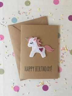 Unicorn Birthday Card Cute unicorn Birthday Card Recycled