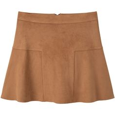 Elastic Skater Skirt ($26) ❤ liked on Polyvore featuring skirts, beige skater skirt, elastic skirt, zipper skirt, embellished skirts and beige flared skirt