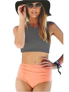 Womens High Waisted Bikini Swimsuits Swimwear(FBA) Black/Pink US Medium/Label Large
