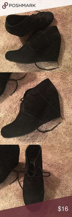 Wedge lace up booties Black suede lace up wedge booties Shoes Ankle Boots & Booties