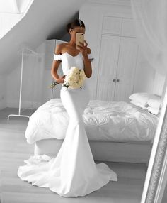 White Mermaid Prom Dress, Off the Shoulder Prom