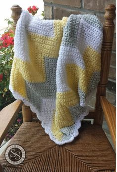 Chevron Baby Blanket Yellow White and Gray by TheStitchingSirkel