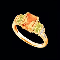 Peridot Citrine Diamond Ring