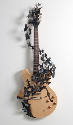"""Rise"", 2011; Electric guitar, aluminum (found cans) by paulvillinski.com"