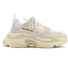 Balenciaga Triple S low-top trainers (€695) ❤ liked on Polyvore featuring shoes, sneakers, white, laced up shoes, sports shoes, white sports shoes, lace up sneakers and white low top sneakers