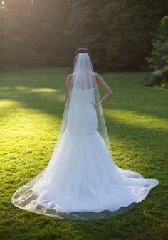 Chapel veil, Cathedral Veil, Raw edge, handcut edge, plain edge, single tier, long bridal veil, ivory veil, diamond white veil, bridal veil.