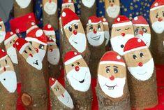 Weihnachtsmänner aus Holz - Weihnachten, Weihnachtsmann, Weihnachtsmarkt, Weihnachtsbastelei, Holz, Farbe, Basteln, Bemalen, viele.