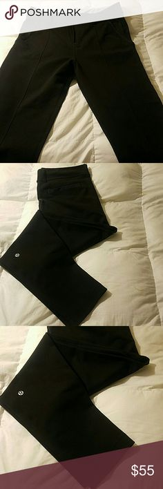 Lululemon pants Lululemon skinny fit casual pants. Does not have size tag but is a size 10. Black all around with one pocket on the back and two on the sides, and place for a belt. In perfect condition. lululemon athletica Pants