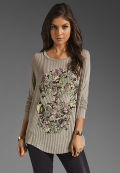 Lauren Moshi Norah Color Vine Skull Sweater in Ash
