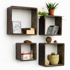 Saddle leather wall box shelf