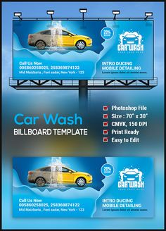 Car Wash Billboard Template is perfectly suitable for promoting your Business. You can also use this template in multipurpose advertising purpose ad.