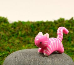 Motion Kitty In Bubble Gum Pink And White Stripes - Hand Sculpted Miniature Polymer Clay Animal