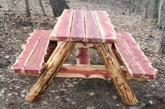 6 ft Live Edge Eastern Red Cedar Picnic Table by PovertyGulch
