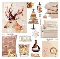 """A little bit of Christmas Magic in Vintage Pink"" by theseapearl ❤ liked on Polyvore featuring interior, interiors, interior design, home, home decor, interior decorating, abcDNA, Mark & Graham, GE and National Tree Company"