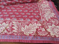 """Vintage French Country Williams Sonoma Tablecloth - HUGE 74""""x102"""" Rectangle - Dark Red, Purple, Creamy Yellow Floral by BeautyFromThePast on Etsy   SOLD"""