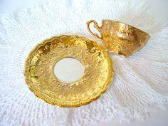 Gold Enamel Cup Saucer Ornate Cup Saucer Set Vintage Cup Saucer Switzerland Glass Gilt Cup Saucer Gold Teacup Set Vintage Gold Cup Saucer
