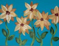 Sunflowers on Blue Blue Canvas, Easy Paintings, Paint Party, Paint Ideas, Sunflowers, Color Show, Parties, Artwork, Fun