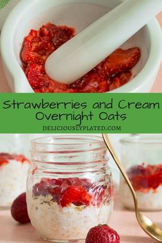 A simple and quick breakfast for those busy mornings!  Strawberry and cream overnight oats | gluten free recipes | easy breakfast ideas |   overnight oats recipe via @leslie9612