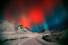 https://flic.kr/p/4dwG4i | Hatcher Pass. Palmer, Alaska. | A Red and Blue Aurora dances in the sky above Independence Mine at Hatcher Pass. Winter in the Matanuska Valley of Southcentral Alaska.  www.greghensel.com