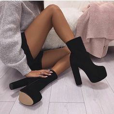 👑👑👑 Follow @EssenceAQ on Pinterest now for more great pins!  heels, black, and boots image