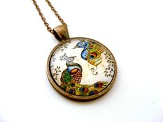 Peacock Art Necklace, Vintage Copper Pendant & Chain, Handcrafted Glass & Metal Jewelry by Lizabettas