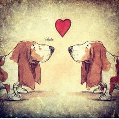This artwork is titled Basset Hound Love. What happens when two old bassets fall in love! This painting is # 2 in a series of dog love. Hound Puppies, Basset Hound Puppy, Dogs And Puppies, Doggies, Scottish Terrier, I Love Dogs, Cute Dogs, Dog Illustration, Bloodhound