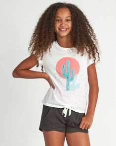 Desert graphic screened on the front. Short sleeves with a crew neck. Kids Outfits Girls, Girl Outfits, Suits For Women, T Shirts For Women, Billabong Girls, Boyfriend Tee, Girls Tees, Short Girls, Night Gown
