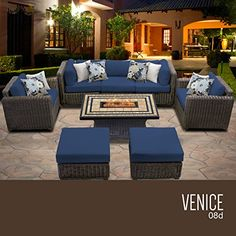Home Makeover  TK Classics VENICE-08d-NAVY Venice 8 Piece Outdoor Wicker Patio Furniture Set, Navy ** This is an Amazon Associate's Pin. Find out more from the website by clicking the image.
