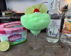Lime Sherbet Margarita - For more delicious recipes and drinks, visit us here: www.tipsybartender.com