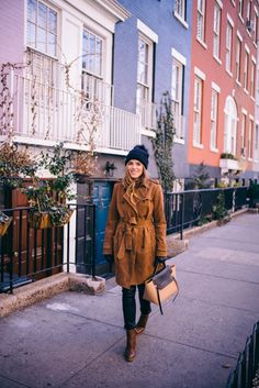Suede Trench Coat - Banana Republic, Burberry Beanie and Gloves, Celine Bag, and Gianvito Rossi Boots