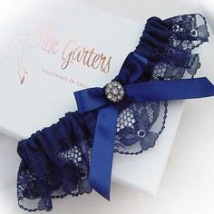 648a00427 Dark Navy Blue Wedding Garter with Diamante Crystal