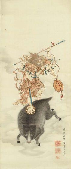 The Grand Illusion (摩利支天像 Marishiten (Buddhist god of war), Kyoto,. Japanese Painting, Chinese Painting, Chinese Art, Japanese Drawings, Japanese Prints, Traditional Paintings, Traditional Art, Samurai, Legends And Myths