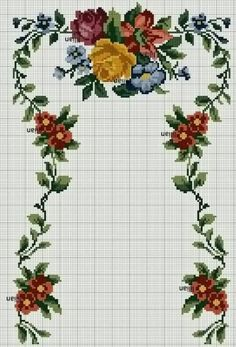 This Pin was discovered by Hul Cross Stitch Borders, Cross Stitch Rose, Cross Stitch Flowers, Cross Stitch Designs, Cross Stitching, Cross Stitch Embroidery, Cross Stitch Patterns, Towel Embroidery, Free To Use Images