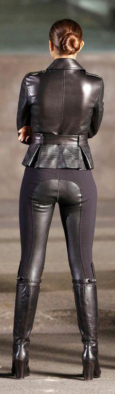 Leather jacket, leather jodhpurs, leather boots...