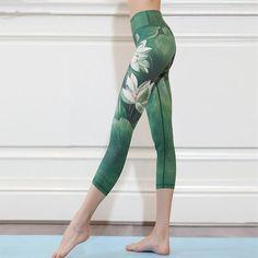 CHICE IRIS Womens Digital Print High Waist Bandage Tie Workout Yoga Leggings