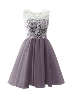MicBridal® Kurz Chiffon Spitze Ballkleid Blumenmädchenkleid für Damen und Mädchen Grau 34
