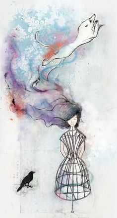 'Kitsune' meaning Fox Spirit.  #Illustration by Janice Kun #i2iart