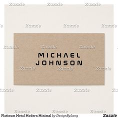 Shop Platinum Metal Modern Minimal Business Card created by DesignByLang. Minimal Business Card, Business Cards, Platinum Metal, Office Essentials, Minimalism, Card Making, Texts, Design, Modern