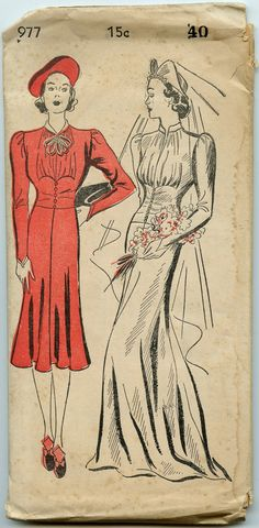 Well, if it isn't the Duchess of Windsor's wedding dress!  This is almost identical to what Wallis Simpson wore for her French wedding to the former King Edward.  1930's Dress Pattern New York Pattern 977 Misses by GreyDogVintage, $125.00